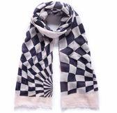 Lange sjaal zwart-wit met blokmotief