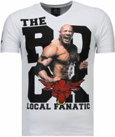 Local Fanatic The Rock - Rhinestone T-shirt - Wit - Maten: S