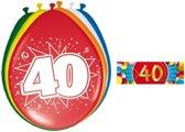 Ballonnen 40 jaar van 30 cm 16 stuks + gratis sticker