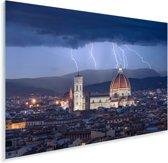 De Dom van Florence met op de achtergrond onweer Plexiglas 180x120 cm - Foto print op Glas (Plexiglas wanddecoratie) XXL / Groot formaat!