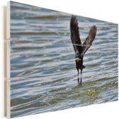 Bootstaarttroepiaal landt in de zee Vurenhout met planken 90x60 cm - Foto print op Hout (Wanddecoratie)