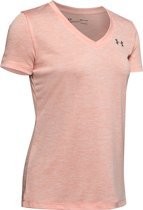 Under Armour Tech SS V-Twist Dames Sportshirt - Maat S - Peach Frost