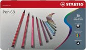 STABILO Pen 68 30 Viltstiften - Metalen Etui