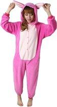 KIMU Onesie Angel, Lilo & Stitch pak kostuum roze - maat L-XL - Stitchpak jumpsuit huispak festival