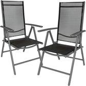 2x aluminium tuinstoel / tuin stoel antraciet - zwart 401633