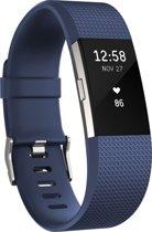 Siliconen polsbandje voor de Fitbit Charge 2 - Donkerblauw Navy  - Maat  Small