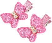 Vlinder Glitter haarspeldjes Donker Roze