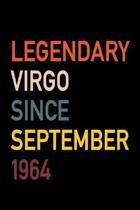 Legendary Virgo Since September 1964: Diary Journal - Legend Since Sept. Born In 64 Vintage Retro 80s Personal Writing Book - Horoscope Zodiac Star Si