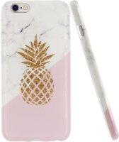 iPhone 6 / 6s TPU silicone Hoesje mode ontwerp van witte marmer + roze + gouden ananas schokabsorptie en krasbestendig