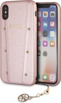 Guess Back Cover Roze - Gold studs - Leer - iPhone X en  iPhone Xs  - Siliconen rand