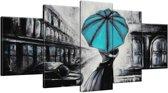 Schilderij handgeschilderd Liefde | Turquoise , Zwart , Grijs | 150x70cm 5Luik