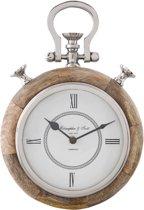 Clayre & Eef Klok hout bruin glas 21x6x30 cm / 1xAA