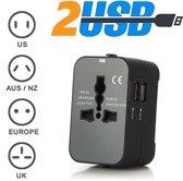 Universele Wereldstekker met 2 USB Poorten - Internationale Reisstekker voor 150+ landen - met etui - Engeland (UK) - Amerika (USA) - Australië - Azië - Zuid Amerika - Afrika - Reis Adapter - Wereld Stekker - Oplader - Zwart