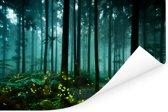 Vuurvliegjes verlichten een bos Poster 120x80 cm - Foto print op Poster (wanddecoratie woonkamer / slaapkamer)