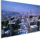 Luchtfoto van de stad Sapporo in Japan tijdens de winter Plexiglas 180x120 cm - Foto print op Glas (Plexiglas wanddecoratie) XXL / Groot formaat!