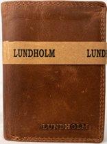 Lundholm luxe leren heren portemonnee heren cognac RFID - anti skim bescherming - hoogwaardig leer