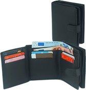 Businessme Portemonnee - Zwart Leer - Met Ritssluiting - 12 pasjes - RFID