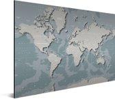 Wereldkaart - Blauw - Grijs - Aluminium 90x60 cm