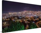 Panorama van Beiroet in de nacht Canvas 80x40 cm - Foto print op Canvas schilderij (Wanddecoratie woonkamer / slaapkamer)