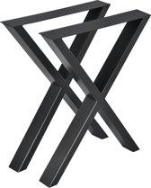 Stalen X - tafelpoot meubelpoot 2 stuks set 59x72cm zwart