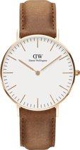 Daniel Wellington Classic Durham DW00100111 - Horloge - Leer - lichtbruin - Ø 36 mm
