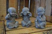 Set Shaolin monniken horen/zien/zwijgen - hoogte 15 cm - grijs - polystone