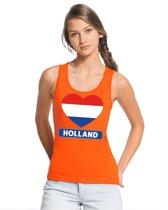 Oranje Holland hart vlag tanktop shirt/ singlet dames - Oranje Koningsdag/ Holland supporter kleding M