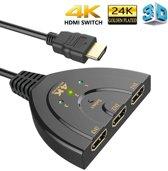 4K HDMI 1.4 Splitter Switch - 3 in naar 1 uit - 4K 1080p Ultra HD - 3D - ARC - High Speed Internet 10.2Gbit/s Indicatie LED + Pigtail - Zwart - DigiTech®