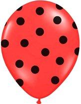 Ballonnen Rood dots zwart 50 stuks