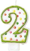 Amscan Verjaardagskaars 2 - Polka Dots 7,6 Cm Groen/wit