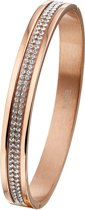The Jewelry Collection Slavenband Scharnier 8 mm Strass - Staal