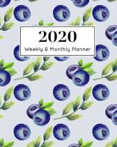 2020 Weekly & Monthly Planner: January 1st - December 31st 2020- Organizer Schedule Journal for 2020 - Blueberry fruit pastel watercolor -