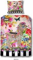 Melli Mello Miloui met paard - kinderdekbedovertrek - eenpersoons - 140x200/220 cm  - katoen satijn - multicolor
