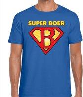 Zwarte Cross blauw t-shirt super boer - blauw Achterhoek festival shirt voor heren - zwarte cross S