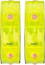 Sportarmband • Per Paar • Reflecterend met 4 Lichtjes •, Geel, Uni