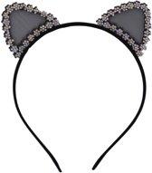 Jessidress Haar Diadeem met Katten Oren vol strass Meisjes Haarband Accessoires