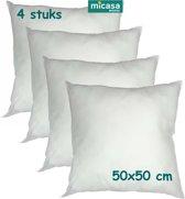 Micasa - Vulkussen - Binnenkussen - Voor kussenhoes - 50 x 50 cm - 4 stuks