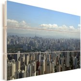 Stadsgezicht van de grootste stad van Brazilië in São Paulo Vurenhout met planken 30x20 cm - klein - Foto print op Hout (Wanddecoratie)