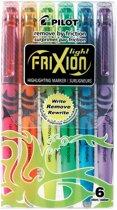 Pilot Textmarker Frixion Light 6 Stuks/Pack Geel Groen Roze Oranje Blauw Violet 1 Mm 3.8 Mm