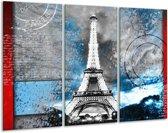 Glas schilderij Parijs, Eiffeltoren | Grijs, Blauw, Zwart | 120x80cm 3Luik | Foto print op Glas |  F006971