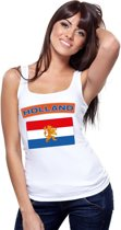 Singlet shirt/ tanktop Hollandse vlag wit dames L