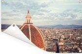 Luchtfoto van Florence met de koepel van de Dom van Florence Tuinposter 120x80 cm - Tuindoek / Buitencanvas / Schilderijen voor buiten (tuin decoratie)