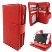 Samsung J4 Plus - Burned Red - Pasjeshouder - Telefoonhoesje met extra flap voor 9 pasjes