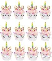 12 Stuks cupcake bakjes en toppers - Eenhoorn - Cupcake wrappers - Vormpjes - KoopjesAap