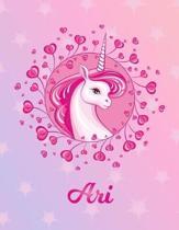 Ari: Unicorn Sheet Music Note Manuscript Notebook Paper - Magical Horse Personalized Letter M Initial Custom First Name Cov