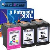 PlatinumSerie® spaar set 3 cartridges alternatief voor HP 302 XL black & color