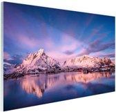 Bergen bij meer Glas 30x20 cm - klein - Foto print op Glas (Plexiglas wanddecoratie)