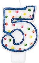 Amscan Verjaardagskaars 5 - Polka Dots 7,6 Cm Blauw/wit