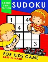 Sudoku for Kids Game Large Print Edition: Easy to Hard 4x4, 6x6, 9x9 Fun Puzzles