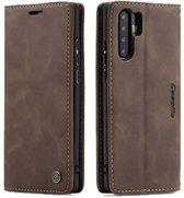 TomKas Lederen Wallet Hoesje Caseme Huawei P30 Pro - Donkerbruin